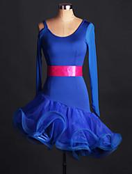 Latin Dance Dresses Performance Spandex / Lace / Organza Crystals/Rhinestones / Ruffles 1 Piece Long Sleeve High Dress