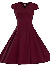 Feminino Bainha Vestido,Formal / Tamanhos Grandes Sofisticado Sólido Assimétrico Altura dos Joelhos Sem Manga Azul / VermelhoAlgodão /