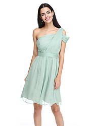 2017 Lanting bride® na altura do joelho chiffon vestido de dama elegante - uma linha de um ombro com faixa