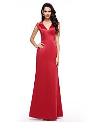 2017 TS couture® הערב רשמית להלביש אונליין צווארון V סאטן באורך הרצפה עם חזית מפוצלת