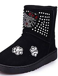 Boty-Látka-Pohodlné-Dívčí-Černá Červená-Šaty Běžné-Plochá podrážka