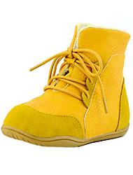 לבנים-מגפיים-דמוי עור-נוחות-שחור / צהוב / Almond-שטח / קז'ואל-עקב שטוח