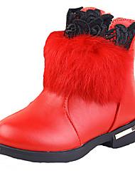 Boty-PU-Pohodlné-Dívčí-Černá Červená-Běžné-Plochá podrážka