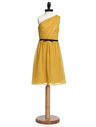 2017 lanting bride® knielange chiffon junior bruidsmeisje jurk schede / kolom een schouder met sjerp / lint