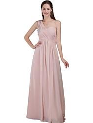 Sięgająca podłoża Szyfon Piękne plecy Sukienka dla druhny - Krój A Jedno ramiączko z Koraliki