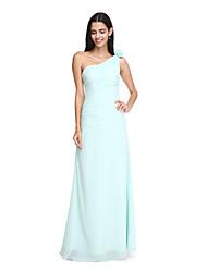2017 Lanting vestido longo bride® chiffon elegante dama de honra - um ombro com flor (s)