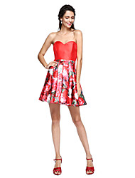 2017 ts couture® prom cocktail party dress - floral baljurk sweetheart korte / mini mikado met sjerp / lint