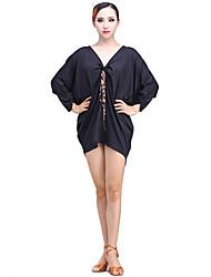 Latin Dance Dresses Performance Milk Fiber Bow(s) 1 Piece 3/4 Length Sleeve Dress