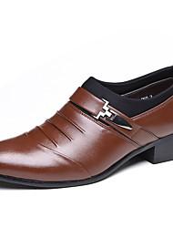 Herre-Lær-Lav hæl-Komfort-一脚蹬鞋、懒人鞋-Fritid Fest/aften-Svart Brun