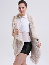 אחיד צווארון חולצה מתוחכם יום יומי\קז'ואל מעיל פרווה נשים,בז' / אפור ללא שרוולים חורף פרוות ארנב
