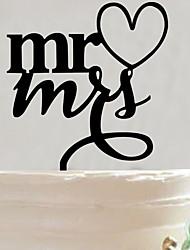קישוטים לעוגה לא מותאם אישית אקרילי חתונה / יום שנה / מסיבה לכלה שחורנושאי גן / נושא אסיה / נושא פרחוני / נושא פרפר / נושא קלאסי / נושא