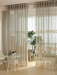 Um Painel Tratamento janela Europeu Quarto Poliéster Material Sheer Curtains Shades Decoração para casa For Janela