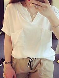 Dames Eenvoudig Overhemd,Casual/Dagelijks Effen V-hals Korte mouw Wit Katoen