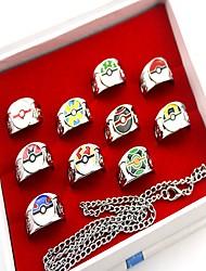 אביזרים נוספים קיבל השראה מ Pocket Monster PIKA PIKA אנימה אביזרי קוספליי טבעת כסף סגסוגת
