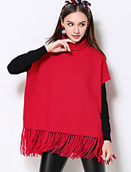 Women's Casual/Daily Plus Size Simple Regular Pullover,Solid Red Short Sleeve Rayon Polyester Nylon Fall Winter Thick Stretchy