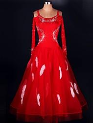 Dança de Salão Vestidos Actuação Elastano / Organza Cristal/Strass / Pano / Paetês 1 Peça Manga Comprida Alto Vestidos S-XXXL: 120-130cm