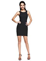 ts couture® לנשף שמלת מסיבת קוקטייל שמלה שחורה קטנה - תכשיט נדן / טור קצר / מיני תחרה / למתוח סאטן עם תחרה