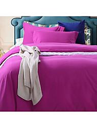 Solid Duvet Cover Sets 4 Piece Cotton solid Reactive Print Cotton Queen 1pc Duvet Cover / 2pcs Shams / 1pc Flat Sheet