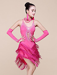 Dança Latina Vestidos Mulheres Actuação Elastano / Fibra de Leite Enfeites / Borla(s) 3 Peças Sem Mangas Natural Vestidos / Braceletes