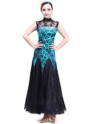 Dança de Salão Vestidos Actuação Renda / Veludo Renda / Padrão/Estampado 1 Peça Sem Mangas VestidosM:124cm-125cm L:124cm-125cm