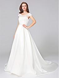 Lanting Bride® Ball Gown Wedding Dress - Elegant & Luxurious Chapel Train Scoop Mikado with Appliques / Beading / Ruche / Sash / Ribbon