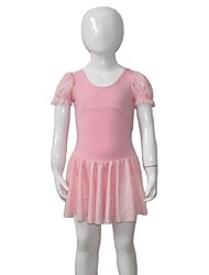Balé Vestidos Mulheres / Crianças Actuação Algodão / Licra Plissado / Amarrotado 1 Peça Manga Curta Vestidos