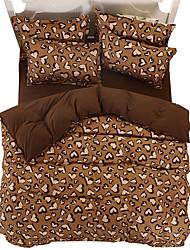 חידוש סטי שמיכה 4 חלקים פוליאסטר דוגמא הדפסה תגובתית פוליאסטר זוגי / מלא / קווין / קינג 4 יחידות (1 כיסוי שמיכה, 2 כיסוי כרית, 1 סדין)