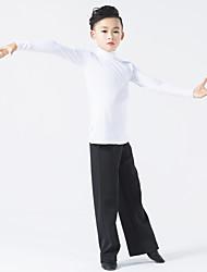 ריקוד לטיני תלבושות בגדי ריקוד ילדים ביצועים מילק פייבר שחבור 2 חלקים שרוול ארוך טבעי מכנסיים עליוןXXXS:49 XXS:52.5 XS:56 S:59.5 L:63