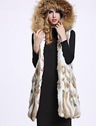 Feminino Casaco de Pêlo Casual Sofisticado Inverno,Sólido Branco Pêlo de Coelho / Pêlo de Guaxinim Com Capuz-Sem Manga