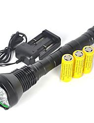 תאורה פנס LED / פנסי יד LED 2000 Lumens 1 מצב Cree XM-L T6 26650 אחיזה נגד החלקה / קל במיוחד מחנאות/צעידות/טיולי מערות גומי / מתכת