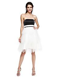 TS Couture® Cocktailparty Kleid - Muster Ballkleid Trägerlos Knie-Länge Satin / Tüll mit Schärpe / Band