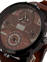 Men's Sport Watch Military Watch Dress Watch Fashion Watch Wrist watch Three Time Zones Punk Colorful Quartz Leather BandVintage Cool
