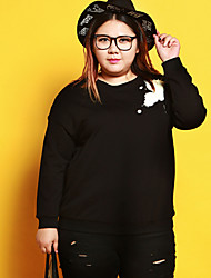 Women's Plus Size Casual/Daily Simple Sweatshirt Print Round Neck Micro-elastic Cotton Spandex Long Sleeve Fall Winter