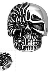 טבעת פלדת על חלד Skull shape כסף תכשיטים Halloween יומי קזו'אל ספורט 1pc