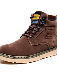 Men's Boots Spring Fall Winter Comfort Leatherette Outdoor Office & Career Casual Flat Heel Black Blue Brown