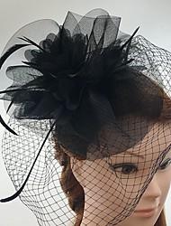 Mulheres Penas Tule Rede Capacete-Casamento Ocasião Especial Casual Fascinador Véus de Rede 1 Peça