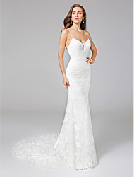 Lanting Bride® Sheath / Column Wedding Dress - Classic & Timeless Open Back Court Train Spaghetti Straps Lace with Lace