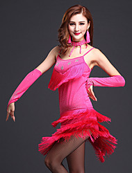 Latin Dance Outfits Women's Performance Milk Fiber Beading / Tassel(s) 4 Pieces Sleeveless Natural Dress / Bracelets / Headpieces / Shorts