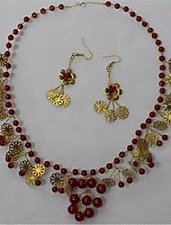 Šperky 1 x náhrdelník / 1 x pár náušnic Křišťál / Imitace perly Svatební / Párty 1Nastavte Dámské Červená Svatební dary