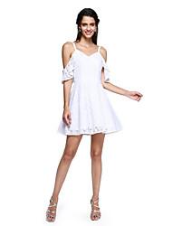 ts couture® prom Cocktailparty Kleid - mini me a-line Spaghetti-Trägern kurz / Mini-Baumwolle mit Rüschen