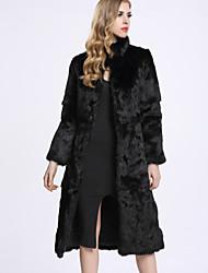 Feminino Casaco de Pêlo Casual Sofisticado Inverno,Sólido Preto Pêlo de Coelho Rex Colarinho Chinês-Manga Longa