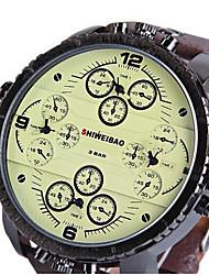 Men's Sport Watch Military Watch Dress Watch Fashion Watch Wrist watch Dual Time Zones Quartz Leather Band Vintage Casual Cool Black