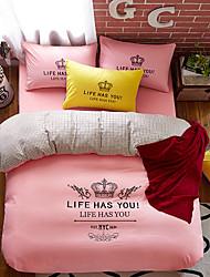bedtoppings 4pcs להגדיר כיסוי בשמיכה השמיכה שמיכה 1 המלכה / 1 בצבע אחיד הציפית גיליון / 1 עם הדפסים מיקרופייבר פולי