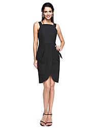 TS Couture® Cocktailparty Kleid - Kleines Schwarzes Kleid / Hoch geschlitzt Eng anliegend Riemchen Knie-Länge Chiffon mitVorne geschlitzt