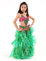 Dança do Ventre Roupa Crianças Actuação Chifon Lantejoulas / Borla(s) 3 Peças Sem Mangas Caído Saia / Top / Xale de Dança do VentreSkirt: