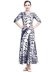 Dança de Salão Vestidos Actuação Fibra de Leite Padrão/Estampado 1 Peça Vestidos M:125cm-128cm L:125cm-128cm XL:125cm-128cm