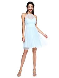 2017 לנטינג שמלת השושבינה bride® - מיני לי קולר א-קו טול קצר / מיני עם כורכת / ruching