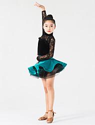 ריקוד לטיני תלבושות בגדי ריקוד ילדים ביצועים תחרה / קטיפה תחרה 2 חלקים שרוול ארוך טבעי חצאית / עליון