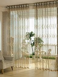 Um Painel Tratamento janela Europeu , Flor Sala de Estar Poli/Mistura de Algodão Material Sheer Curtains Shades Decoração para casa For