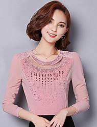 assinar revestimento do outono estaleiros coreanos costura em torno do pescoço camisa de mangas compridas de renda foi de gaze fina camisa